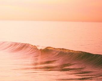Large Wave Photography, Orange Wall Decor, Modern Beach Wall Art, Sunrise Photography, Surf, Ocean Art, Waves Print, Minimalist Beach Decor