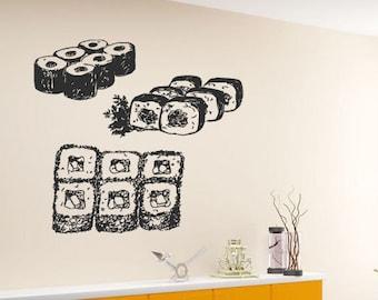 Wall Vinyl Room Sticker Decals Mural Design Art Sushi Meal Japanese Food bo1865
