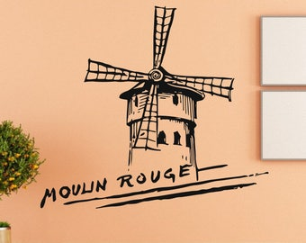 Wall Decal Sticker French Mill Decal Village Farm 258t
