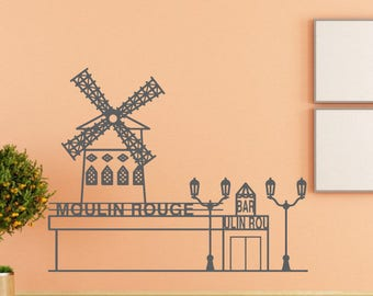 Wall Decal Sticker French Mill Decal Village Farm 281t