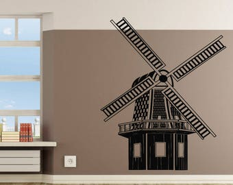 Wall Decal Sticker French Mill Decal Village Farm 248t