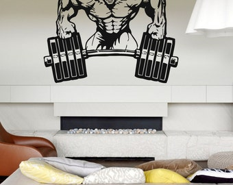 Wall Decal Room Sticker Bedroom Fitness Sport Crossfit Gym Workout Body bo2941