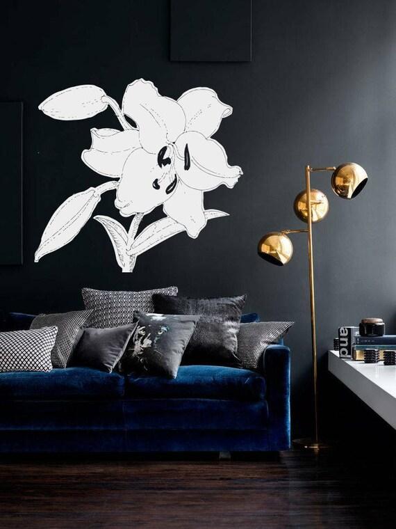 wall vinyl sticker decals vase flowers plants lilies rose | etsy