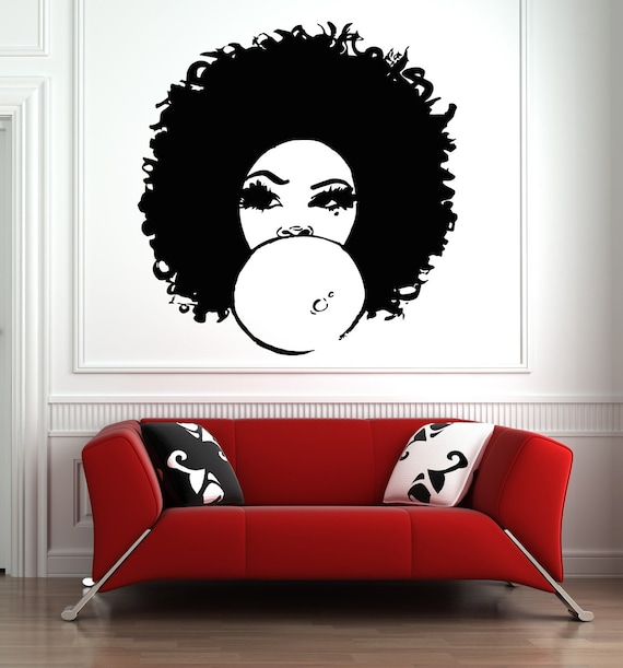 african woman decal beautiful afro girl curly hair salon | etsy
