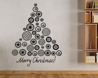 Wall Decal Sticker Merry Christmas Happy New Year Holidays Christmas Tree Decorations 1465t