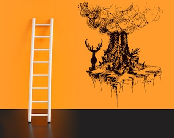Wall Vinyl Sticker Decals Mural Room Design Decor Art Pattern Tree Deer Hunting Branch Forest mi741