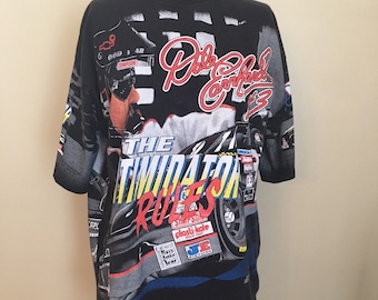 79c56306934a Vintage Dale Earnhardt The Intimidator Rules T-shirt, 1990s NASCAR T-shirt,  Size XL, All Over Print Shirt, Dale Earnhardt #3 Racing Shirt