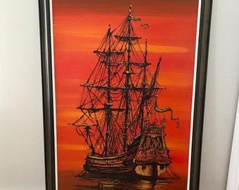 Vintage Vanguard Studios Painting by Van Gaard, Pirate Ship at Sea, Mid Century Modern Artwork of Pirate Ship, Lee Reynolds, Oil Painting,