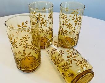 Vintage Libbey Floral Tumblers, Set of 4, Amber Floral Tumblers, Raised Daisy Flowers, Mid Century Barware, Libbey Glasses, Iced Tea Glasses