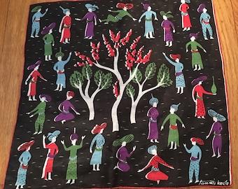 Vintage Tammis Keefe Arabian Hankie, Tammis Keefe Tree of Life Handkerchief, 1950s Arabian Hanky, Middle Eastern Design, Retro Hankie