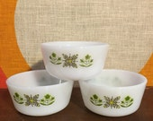 Vintage Anchor Hocking, Fire King, Meadow Green, Custard Cups, 6 oz. Baking Dishes, Set of 3, Milk Glass Custard Cups, Green and Yellow