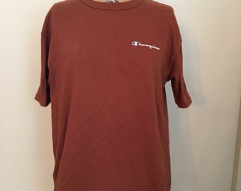 ff549dd9 Vintage Champion Brand Brown T-shirt, Brown Champion Shirt, Classic  Champion T-shirt, 90s Clothing, Streetwear, L T-shirt, Plain Brown Tee