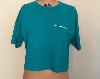 e3923148adba Vintage Champion Brand Green Crop Shirt, Green Champion Cropped T-Shirt,  Classic Champion Half T-shirt, 90s Clothing, Streetwear, Size Large