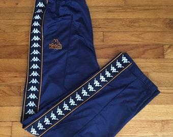 aaee17fb12 Vintage Kappa Track Pants, Full Stripe Logo Side Tape, Mens Size X Large,  Blue And Gold, 90s RARE Sweatpants, 90s Streetwear, Jogging Pants
