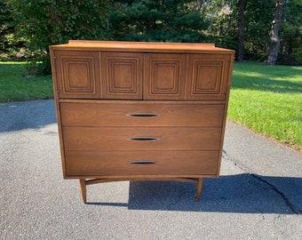 Vintage Mid Century Modern Dresser, Broyhill Sculptra Tall Dresser, Gentlemen's Chest, Walnut Dresser, 1960s Dresser, Broyhill Premier