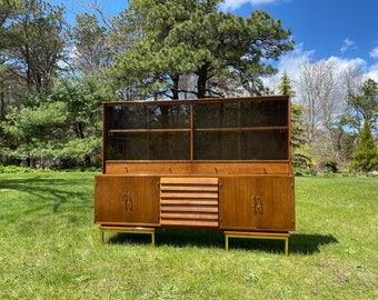 Vintage American of Martinsville Dania China Cabinet, Mid Century China Hutch, Mid Century Modern Credenza, Walnut and Brass China Cabinet