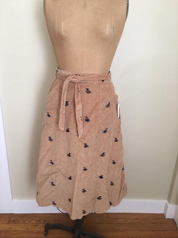 Vintage Corduroy Embroidered Wrap Skirt, Mallard D