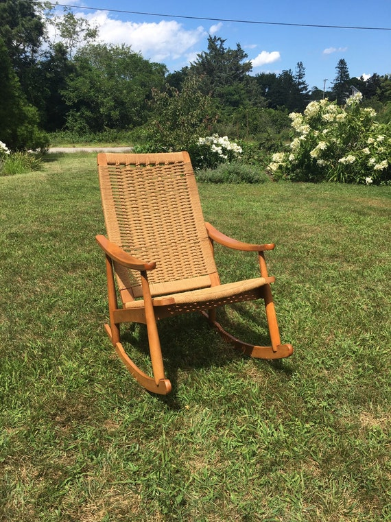 Terrific Vintage Rope Cord Rocking Chair Hans Wegner Style Rocking Chair Woven Rope Cord Rocking Chair Made In Yugoslavia Mid Century Chair Ocoug Best Dining Table And Chair Ideas Images Ocougorg