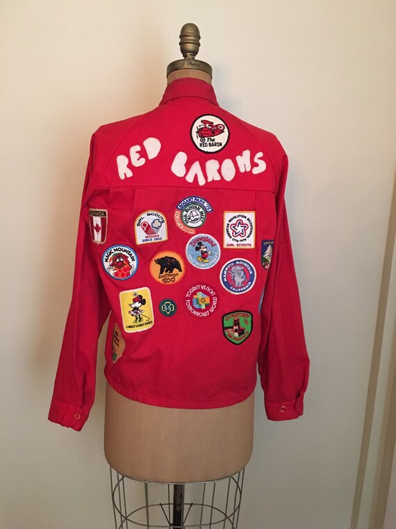 Vintage 1970s Boy Scout Red Jacket with Girl Scout
