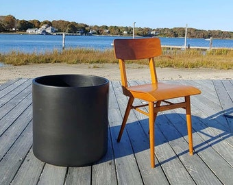 "Vintage Gainey Ceramics Architectural Planter, XL Ceramic Planter, Matte Black Finish, 20"" Diameter Gainey Planter, Modern Gainey Pot"