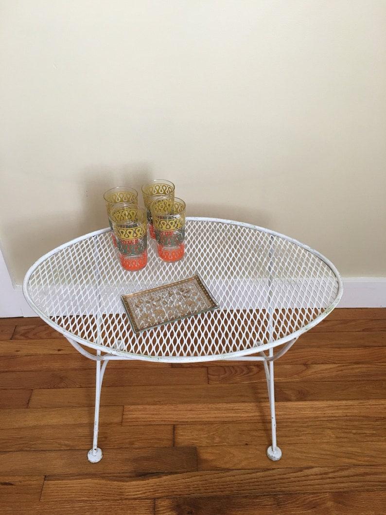 Maurizio Tempestini For Salterini Orange Slice Wrought Iron Table Side Table Salterini Patio Table Mid Century Modern