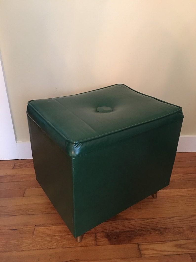 Mid Century Modern Ottoman With Storage, Foot Stool, Green Vinyl Ottoman  With Storage, Extra Seating, MCM Storage Ottoman, Storage