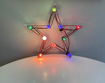 Vintage Electric Christmas Star, Plug In Christmas Star Wall Hanging, Ten Light Star, Metal Frame Star, Mid Century Christmas Decoration