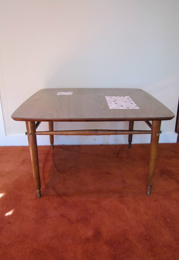 Mid Century Modern Tile Top Coffee Table Cocktail Table Side Etsy - Coffee table with tile inlay