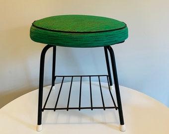 Vintage Swivel Ottoman with Magazine Rack, Vinyl Footstool with Shelf, Mid Century Modern Footrest, Green Swivel Ottoman with Storage