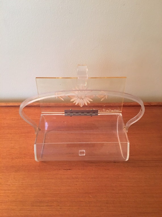 Vintage Lucite Box Purse with Flower Design, Luci… - image 5