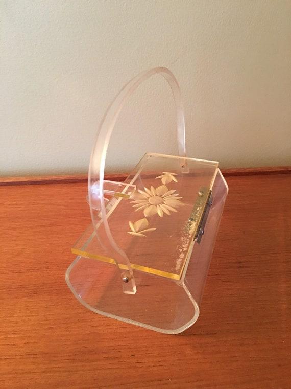 Vintage Lucite Box Purse with Flower Design, Luci… - image 7