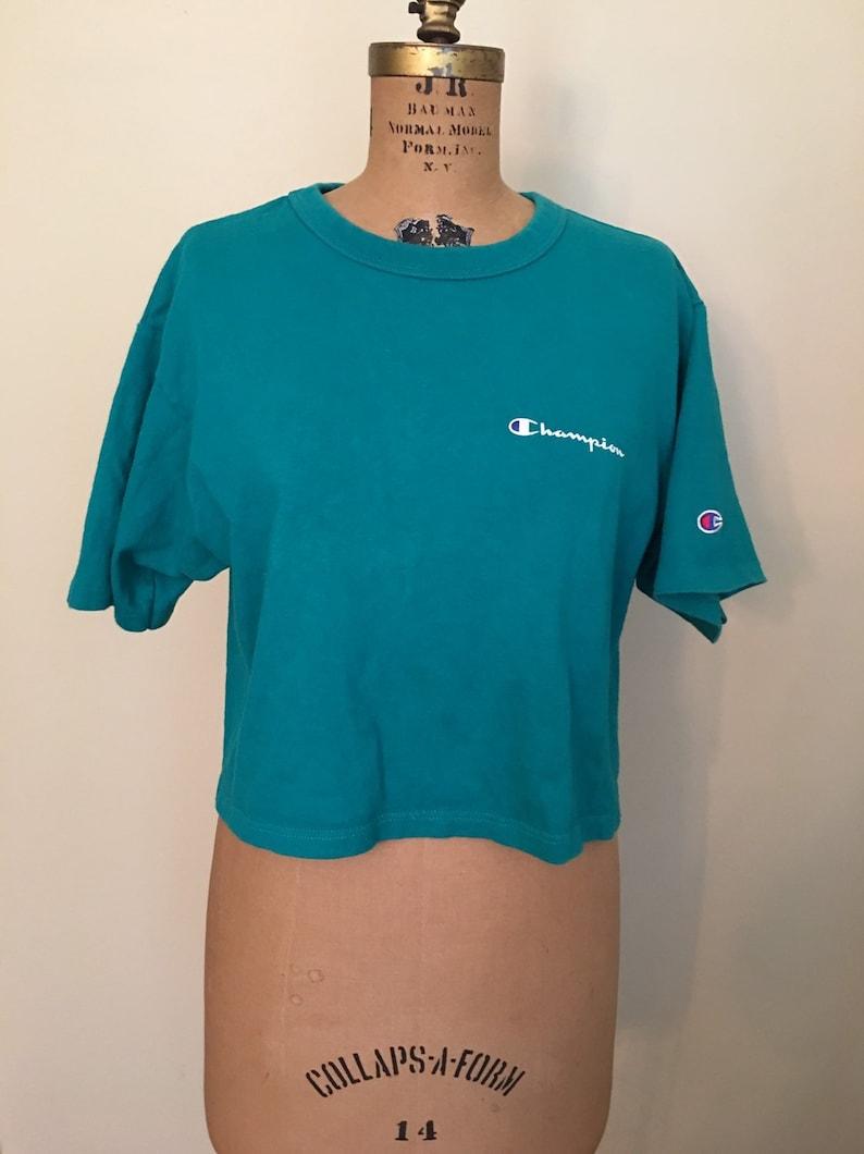 297e40174c03 Vintage Champion Brand Green Crop Shirt Green Champion | Etsy