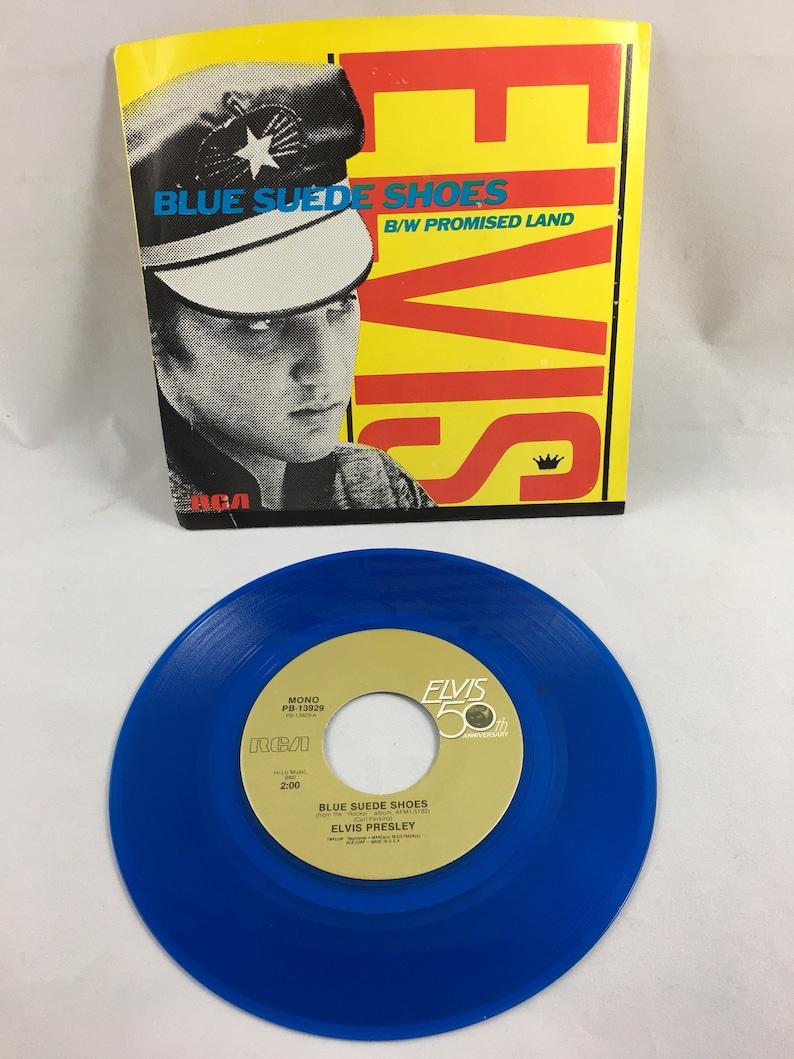 Elvis Presley Promised Land / Blue Suede Shoes, 45 RPM, Promo Vinyl, 1984  Blue Vinyl 45, RCA Records, Elvis 45, Elvis Music, Vinyl Record