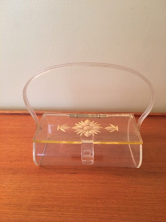 Vintage Lucite Box Purse with Flower Design, Lucit