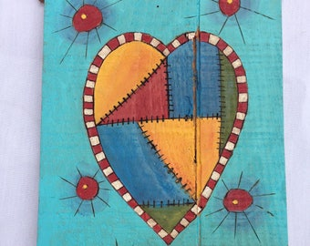 patchwork heart painting, folk art painting, heart painting, outsider art, kitchen art,