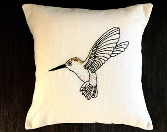 Hand embroidered pillow cover 30cm x 30 cm -  Humming bird Pillow - Bird pillow cover-Home -Modern home-Handmade gifts-sustainable design