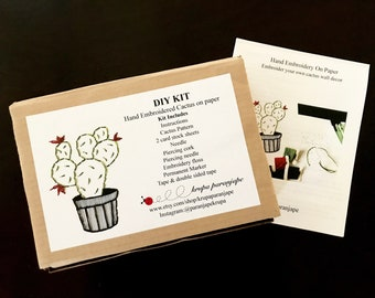 Embroidery DIY Kit-Cactus on paper-Do it yourself paper embroidery kit with pattern -DIY kit-Paper art-Paper embroidery kit for all levels