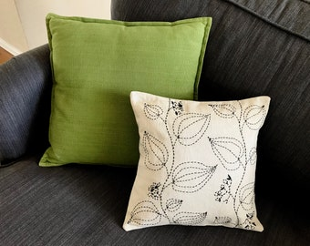Hand embroidered pillow cover 30cm x 30 cm -  Black outline leaf Pillow - Leaf all over pillow cover-Home -Modern home-Handmade gifts