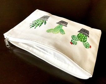 Block printed canvas pouch -19.5 Cm x 26.5 Cm-Cactus printed cotton pouch - Cactus cosmetic pouch-Pencil pouch-Sustainable-Handmade gifts