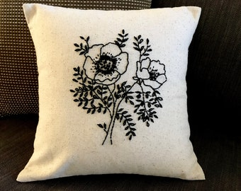 Hand embroidered pillow cover 30cm x 30 cm -  Poppies Pillow -Home -Modern home-Handmade gifts-Dorm room decor-Sustainable living-Calimade