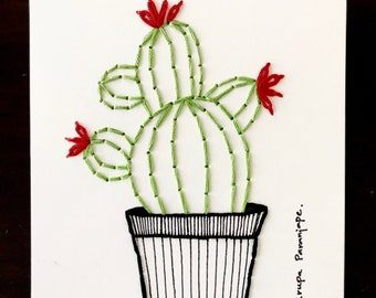 Embroidered cactus -Paper embroidery-Handmade -Embroidered wall decor-Sustainable -Modern home -Interiors-Mothers day-cactus in a pot