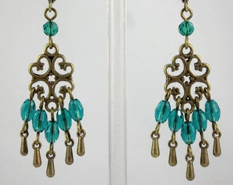 Vintage Style Filigree Chandelier Earrings Bronze Teal Beaded Earrings