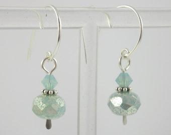 Sterling Silver and Pacific Opal Swarovski Crystal & Czech Glass Petite Dangle Earrings