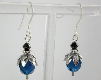Sterling Silver Blue and Black Swarovski Crystal & Czech Glass Petite Dangle Earrings