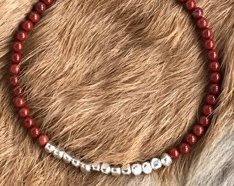 Genuine 3.5mm Red Jasper, Karen Hill Tribe Silver bracelet with magnetic clasp