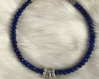 4mm Genuine Lapis Lazuli & Karen Hill Tribe Silver beaded bracelet