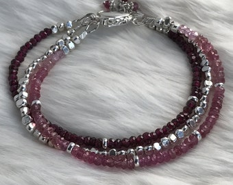 Delicate 3 Strand Triple Strand Garnet, Pink Tourmaline, Pink Zircon, Hill Tribe Sterling Silver bracelet with box clasp - 3.5mm