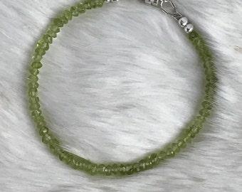 3mm Genuine Peridot and Karen Hill Tribe sterling silver bracelet