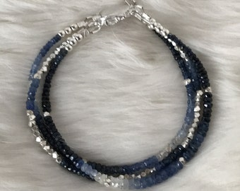 Genuine Three Strand Shaded Blue Sapphire and Hill Tribe Sterling Silver bracelet with box clasp