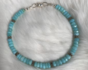 4mm Peruvian Opal, Aqua Blue, and Argentium Silver spacer beaded bracelet with magnetic clasp